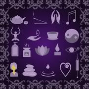 Stock Illustration of Set of icons meditation