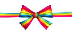 Rainbow ribbon bow Stock Illustration