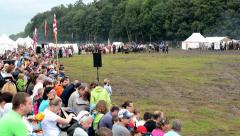 Battlefield - military - soldiers prepare to fight - spectators (viewers) Stock Footage