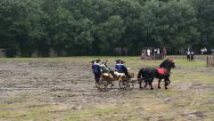 Horse-drawn carriage carrying people - battlefield - military Stock Footage