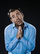 man portrait despair beg - stock photo