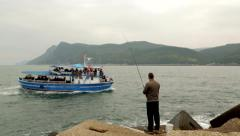 Fishing Passes In Front Of The Ferry, Sea, Landscape Stock Footage