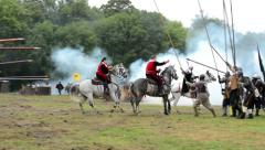 warriors riding a horses - soldiers fight each other- military - battleground - stock footage