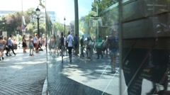 People shopping in city, window reflection Stock Footage