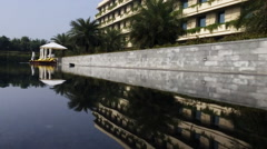 Locked-on shot of hotel water pool Stock Footage