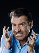 man portrait pucker anger - stock photo