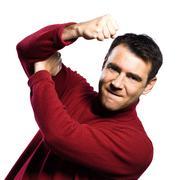 Caucasian man anger rude obscene gesture Stock Photos