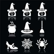 Witch Halloween vector icons set on black - stock illustration