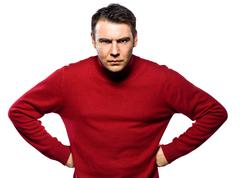caucasian man attitude frowning abgry - stock photo