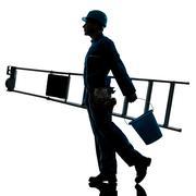 Repair man worker ladder walking silhouette Stock Photos