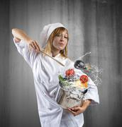 tasty dish of a chef - stock photo