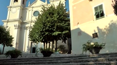 Europe Italy Liguria region village of Borgio Verezzi 004 pan along church Stock Footage
