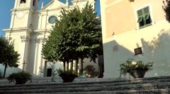 Europe Italy Liguria region village of Borgio Verezzi 004 pan along church Stock Footage