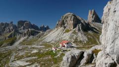 4k UHD pan valley to mountain refuge Locatelli 11501 Stock Footage