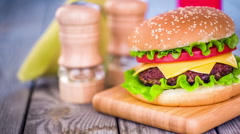 Stock Video Footage of tasty and appetizing hamburger cheeseburger