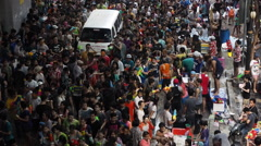 People on the Streets During Songkran Festival in Bangkok, Thailand Stock Footage