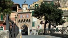 Europe Italy Liguria region Finalborgo village 001 the old city gate Stock Footage