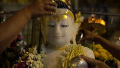 Bathing of Buddha Statue at Shwedagon Pagoda in Yangon, Myanmar (Burma) Stock Footage