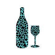 Bottle and glass with hearts - stock illustration