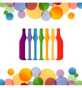 Background with colorful bottles - stock illustration