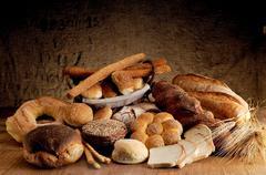 freshly baked crusty bread - stock photo