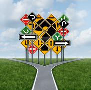 Confusing direction decision Stock Illustration
