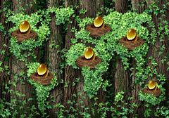 global retirement investment - stock illustration