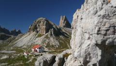 4k UHD pan refuge Locatelli to mountain lakes 11504 Stock Footage