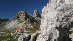 Pan refuge Locatelli to mountain lakes 11504 Stock Footage