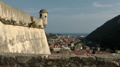 Europe Italy Liguria region Finalborgo village 015 city and fortress walls Stock Footage