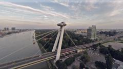 Brtaislava bridge from sky over danube Stock Footage