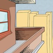 balcony in city - stock illustration