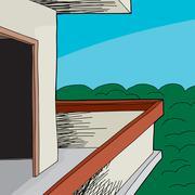 balcony near woods - stock illustration
