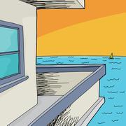 balcony view of ocean - stock illustration