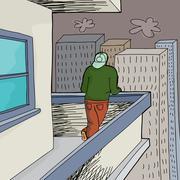 high rise balcony - stock illustration