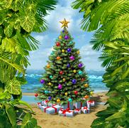 christmas tree beach celebration - stock illustration