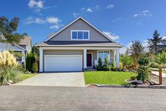 house with beautiful curb appeal. washington real estate. - stock photo