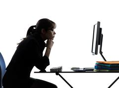business woman boredom problems silhouette - stock photo