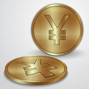 Vector illustration of gold coins with Japanese Yen currency sign - stock illustration