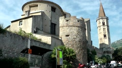Europe Italy Liguria region Finalborgo village 010 church from outside city wall Stock Footage
