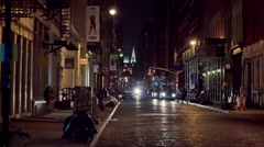 SoHo Night Manhattan New York City Crossing Street NYC Chrysler Building - stock footage