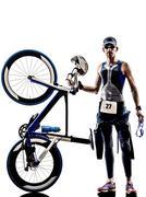 Man triathlon iron man athlete equipment Kuvituskuvat