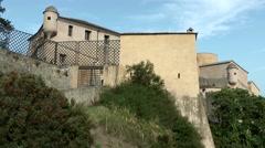 Europe Italy Liguria region Finalborgo village 017 fortress on mountain Stock Footage