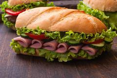 sandwiches - turkey breast, ham & swiss and salami - stock photo