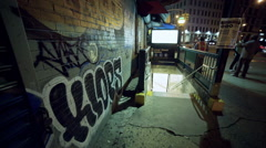 Graffiti Wall Subway Station Stairs Manhattan New York City NYC Night Houston St - stock footage