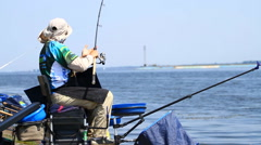 Fshing competition Fishing of Feeder Cup Stock Footage