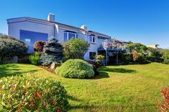 beautiful backyard landscape design - stock photo
