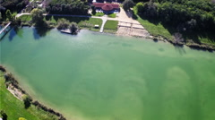 top aerial view over water - stock footage