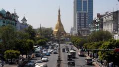 Timelapse View of Traffic Around Sule Pagoda in Yangon, Myanmar (Burma) Stock Footage