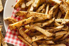 healthy organic jicama fries - stock photo